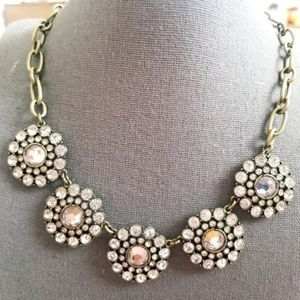 J. Crew Rhinestone Flower Statement Necklace